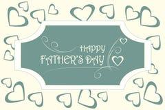 Ημέρα του ευτυχούς πατέρα ευχετήριων καρτών Άσπρη δακτυλογράφηση στο σκούρο μπλε υπόβαθρο, καρδιές στο ελαφρύ μπεζ Στοκ Εικόνα