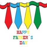 Ημέρα του ευτυχούς πατέρα, κάρτα διακοπών με τους δεσμούς Στοκ Εικόνες