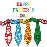 Ημέρα του ευτυχούς πατέρα, κάρτα διακοπών με τους δεσμούς Στοκ Εικόνα