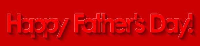 Ημέρα του ευτυχούς πατέρα! Κόκκινη εγγραφή στο κόκκινο υπόβαθρο απεικόνιση αποθεμάτων