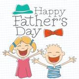 Ημέρα του ευτυχούς πατέρα με τα παιδιά Στοκ φωτογραφία με δικαίωμα ελεύθερης χρήσης