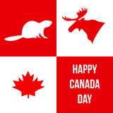 ημέρα του Καναδά ευτυχής Σκιαγραφίες των συμβόλων του Καναδά Διανυσματικό illus Στοκ εικόνες με δικαίωμα ελεύθερης χρήσης