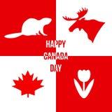 ημέρα του Καναδά ευτυχής Σκιαγραφίες των συμβόλων του Καναδά Διανυσματικό illus Στοκ Φωτογραφίες