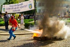 Ημέρα του φυσικού πολιτισμού και του αθλητισμού σε Uzhgorod Στοκ Φωτογραφίες