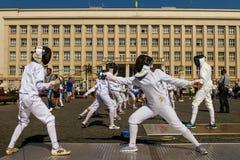 Ημέρα του φυσικού πολιτισμού και του αθλητισμού σε Uzhgorod Στοκ Εικόνα