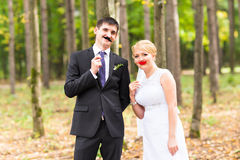Ημέρα των ανόητων Απριλίου Τοποθέτηση γαμήλιων ζευγών με τα χείλια ραβδιών, μάσκα Στοκ εικόνες με δικαίωμα ελεύθερης χρήσης
