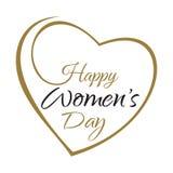 Ημέρα των ευτυχών γυναικών Εγγραφή χεριών στο πλαίσιο υποβάθρου των καρδιών Στοκ Εικόνες