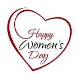 Ημέρα των ευτυχών γυναικών Εγγραφή χεριών στο πλαίσιο υποβάθρου των καρδιών Στοκ εικόνες με δικαίωμα ελεύθερης χρήσης