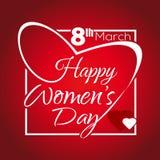 Ημέρα των ευτυχών γυναικών Επιγραφή χαιρετισμού 8 Μαρτίου Εγγραφή σε ένα πλαίσιο με μορφή της καρδιάς Στοκ Φωτογραφίες