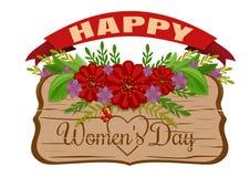 Ημέρα των ευτυχών γυναικών Κάρτα διακοπών γυναικών 8 Μαρτίου Παλαιός ξύλινος κάπρος Στοκ εικόνες με δικαίωμα ελεύθερης χρήσης