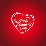 Ημέρα των ευτυχών γυναικών 8 Μαρτίου ευχετήρια κάρτα Εγγραφή χεριών στο πλαίσιο υποβάθρου των καρδιών Γράφοντας κάρτα ημέρας γυνα Στοκ Φωτογραφίες