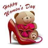 Ημέρα των ευτυχών γυναικών 8 Μαρτίου Ευχετήρια κάρτα με το παπούτσι γυναικών, ρόδινες χάντρες, teddy αρκούδα, καρδιά Στοκ Φωτογραφίες