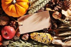 Ημέρα των ευχαριστιών με την κάρτα Στοκ Φωτογραφία