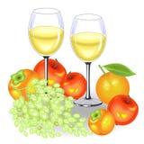 Ημέρα των ευχαριστιών Στον εορταστικό πίνακα είναι δύο ποτήρια του άσπρων κρασιού και των φρούτων Μια δέσμη των σταφυλιών, μήλα,  διανυσματική απεικόνιση