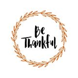 Ημέρα των ευχαριστιών - συρμένη χέρι τυπογραφία εγγραφής διανυσματική απεικόνιση