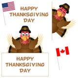 Ημέρα των ευχαριστιών Τουρκία και εμβλήματα καθορισμένα Στοκ Εικόνες