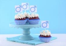 Ημέρα των διεθνών ατόμων Cupcakes με τα αρσενικά σύμβολα Στοκ εικόνες με δικαίωμα ελεύθερης χρήσης