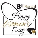 Ημέρα των διεθνών γυναικών 8 Μαρτίου Τυπογραφικό σχέδιο Γράφοντας κάρτα ημέρας των ευτυχών γυναικών Στοκ Φωτογραφία