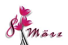 Ημέρα των διεθνών γυναικών στις 8 Μαρτίου. Ημερομηνία με τις επιστολές με τα ρόδινα λουλούδια. Στοκ φωτογραφίες με δικαίωμα ελεύθερης χρήσης