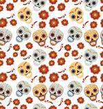 Ημέρα των νεκρών διακοπών στο άνευ ραφής σχέδιο του Μεξικού με τα κρανία ζάχαρης Ατελείωτο υπόβαθρο σκελετών muertos de dia Στοκ Εικόνες