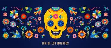 Ημέρα των νεκρών, του υποβάθρου Dia de Los muertos, του εμβλήματος και της έννοιας ευχετήριων καρτών με το κρανίο ζάχαρης διανυσματική απεικόνιση