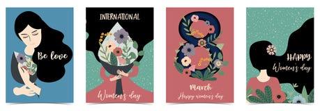 Ημέρα των ρόδινων πράσινων μπλε διεθνών ευτυχών γυναικών με τις γυναίκες, λουλούδι απεικόνιση αποθεμάτων