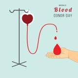 Ημέρα χορηγών παγκόσμιου αίματος Διανυσματική απεικόνιση στο επίπεδο ύφος Στοκ φωτογραφία με δικαίωμα ελεύθερης χρήσης