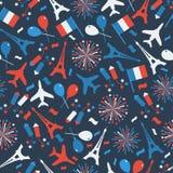 Ημέρα Bastille, ημέρα της ανεξαρτησίας της Γαλλίας, σύμβολα Άνευ ραφής σχέδιο με το σύμβολο του εορτασμού ελεύθερη απεικόνιση δικαιώματος