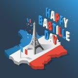 Ημέρα Bastille, ημέρα της ανεξαρτησίας της Γαλλίας, σύμβολα Γαλλικά εικονίδια σημαιών και χαρτών που τίθενται στο τρισδιάστατο ύφ διανυσματική απεικόνιση