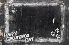 Ημέρα Groundhog πινάκων κιμωλίας Στοκ φωτογραφίες με δικαίωμα ελεύθερης χρήσης