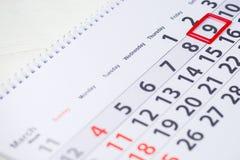 Ημέρα pi 9 Μαρτίου σημάδι στο ημερολόγιο Στοκ Εικόνα