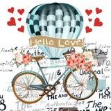 Ημέρα Valentine's πίσω με τα τριαντάφυλλα και το μπαλόνι αέρα Στοκ εικόνα με δικαίωμα ελεύθερης χρήσης