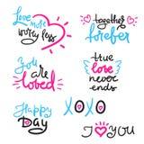 Ημέρα Valentine's που τίθεται με το κείμενο αγάπης, καρδιά Πρότυπο για τις αυτοκόλλητες ετικέττες, χαιρετισμός Scrapbooking διανυσματική απεικόνιση