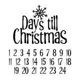 Ημέρες μέχρι τα Χριστούγεννα Εύθυμη αντίστροφη μέτρηση εμφάνισης Χριστουγέννων ελεύθερη απεικόνιση δικαιώματος