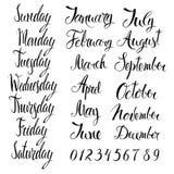 Ημέρες της εβδομάδας, των μηνών, και των αριθμών Στοκ Φωτογραφία