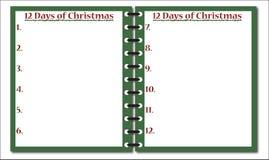 12 ημέρες του σημειωματάριου Χριστουγέννων Στοκ φωτογραφία με δικαίωμα ελεύθερης χρήσης