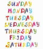 Ημέρες των αστείων εμβλημάτων εβδομάδας ελεύθερη απεικόνιση δικαιώματος