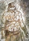 Ημίγυμνος παλαιός πειρατής με έναν σωλήνα απεικόνιση αποθεμάτων