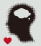 Ημίτοή σκιαγραφία του κεφαλιού, του εγκεφάλου, και της καρδιάς αγάπης. Στοκ Εικόνες