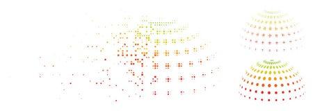 Ημίτονο διαστιγμένο περίληψη εικονίδιο ημι-σφαιρών εικονοκυττάρου σκόνης Διανυσματική απεικόνιση