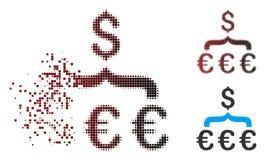 Ημίτονο ευρο- εικονίδιο Aggregator μετατροπής δολαρίων εικονοκυττάρου Destructed Διανυσματική απεικόνιση