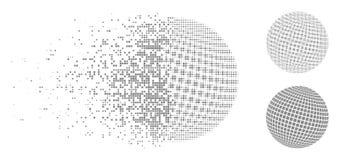 Ημίτονο τετραγωνικό διαστιγμένο αφηρημένο εικονίδιο σφαιρών εικονοκυττάρου Destructed Διανυσματική απεικόνιση
