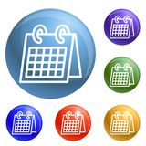 Ημερολογιακά εικονίδια γραφείων καθορισμένα διανυσματικά απεικόνιση αποθεμάτων