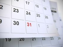 Ημερολογιακές σελίδες, χρονική έννοια στοκ φωτογραφία