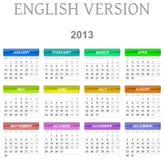ημερολογιακή αγγλική εκδοχή του 2013 Στοκ εικόνα με δικαίωμα ελεύθερης χρήσης