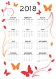 2018 ημερολογιακή κάρτα διανυσματική απεικόνιση