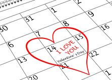 Ημερολογιακή σελίδα ημέρας βαλεντίνου σ' αγαπώ με την καρδιά και το γράψιμο στοκ εικόνα με δικαίωμα ελεύθερης χρήσης