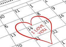 Ημερολογιακή σελίδα ημέρας βαλεντίνου σ' αγαπώ με την καρδιά στοκ φωτογραφία