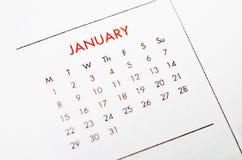 Ημερολογιακή σελίδα Ιανουαρίου Στοκ Εικόνες