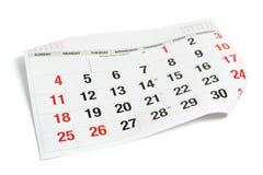 ημερολογιακή σελίδα Στοκ εικόνα με δικαίωμα ελεύθερης χρήσης
